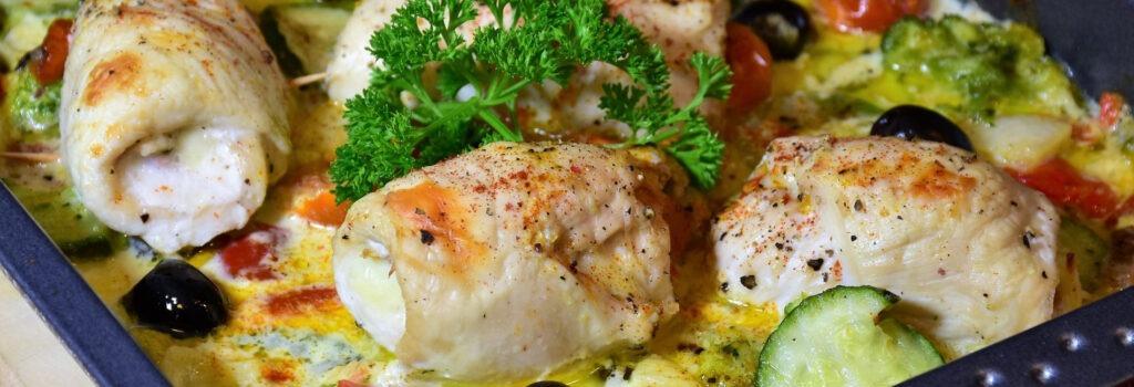kuřecí závitky se sýrem a šunkou